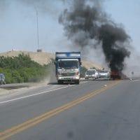Peru Burning Tire Protest
