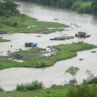 Trucks In River Colombia